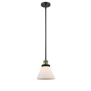 Large Cone Black Antique Brass 10-Inch LED Mini Pendant with Matte White Cased Cone Glass
