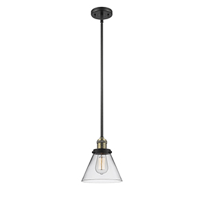 Large Cone Black Antique Brass 10-Inch LED Mini Pendant with Clear Cone Glass