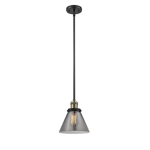 Large Cone Black Antique Brass 10-Inch LED Mini Pendant with Smoked Cone Glass