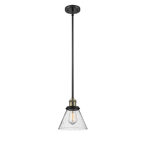 Large Cone Black Antique Brass 10-Inch LED Mini Pendant with Seedy Cone Glass