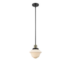 Franklin Restoration Black Antique Brass Eight-Inch LED Mini Pendant with Matte White Cased Small Oxford Shade