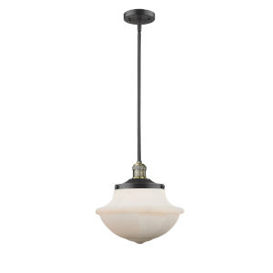 Franklin Restoration Black Antique Brass 12-Inch LED Pendant with Matte White Cased Large Oxford Shade
