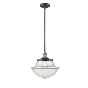 Franklin Restoration Black Antique Brass 12-Inch One-Light Pendant with Clear Large Oxford Shade