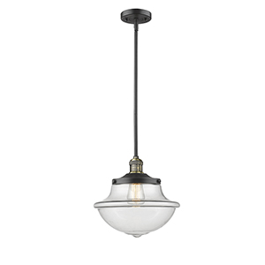 Oxford School House Black Antique Brass LED Pendant with Clear Bell Glass