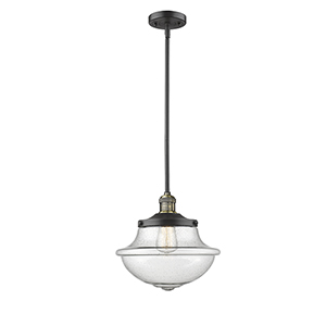Oxford School House Black Antique Brass LED Pendant with Seedy Bell Glass