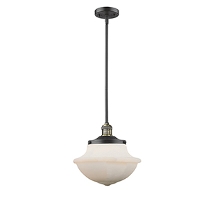 Oxford School House Black Antique Brass One-Light Pendant with White Bell Glass