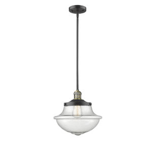 Franklin Restoration Black Antique Brass 12-Inch LED Pendant with Seedy Large Oxford Shade