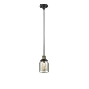 Small Bell Black Antique Brass One-Light Hang Straight Swivel Mini Pendant with Silver Plated Mercury Glass