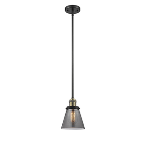 Small Cone Black Antique Brass Eight-Inch LED Mini Pendant with Smoked Cone Glass