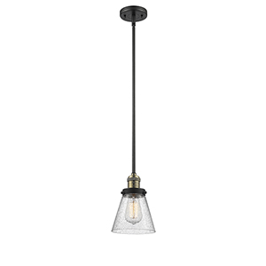 Small Cone Black Antique Brass Eight-Inch One-Light Mini Pendant with Seedy Cone Glass