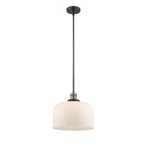 X-Large Bell Black Antique Brass 3.5W LED Hang Straight Swivel Pendant with Matte White Cased Glass