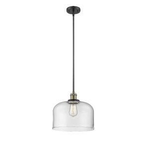 X-Large Bell Black Antique Brass LED Pendant
