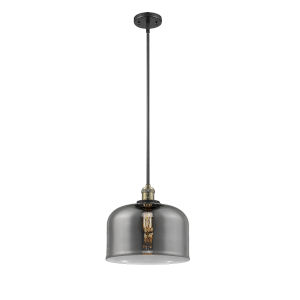 X-Large Bell Black Antique Brass One-Light Hang Straight Swivel Pendant