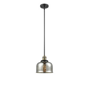 Large Bell Black Antique Brass One-Light Hang Straight Swivel Mini Pendant with Silver Plated Mercury Glass