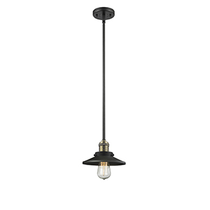 Railroad Black Antique Brass Eight-Inch LED Mini Pendant with Matte Black Metal Shade