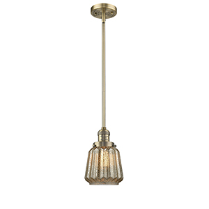 Chatham Brushed Brass Eight-Inch LED Mini Pendant with Mercury Fluted Novelty Glass