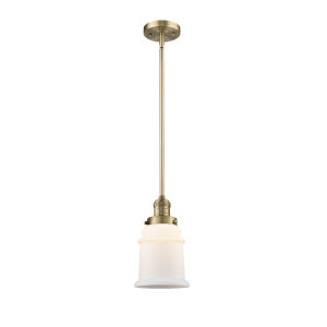 Canton Brushed Brass LED Hang Straight Swivel Mini Pendant with Matte White Glass