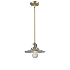 Halophane Brushed Brass Eight-Inch LED Mini Pendant with Halophane Cone Glass