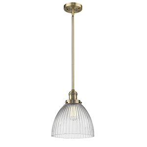 Seneca Falls Brushed Brass LED Mini Pendant with Halophane Dome Glass