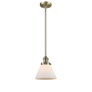 X-Large Cone Brushed Brass One-Light Pendant with Matte White Cased Cone Glass