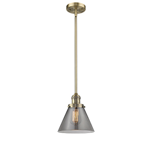 Large Cone Brushed Brass Eight-Inch LED Mini Pendant with Smoked Cone Glass