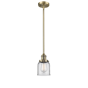 Small Bell Brushed Brass 10-Inch One-Light Mini Pendant with Clear Bell Glass