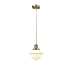 Small Oxford Brushed Brass 60W One-Light Hang Straight Swivel Mini Pendant with Matte White Cased Glass