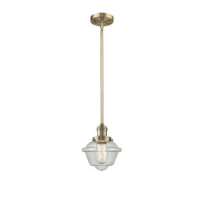 Small Oxford Brushed Brass One-Light Hang Straight Swivel Mini Pendant with Seedy Glass