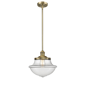 Oxford School House Brushed Brass LED Pendant with Clear Bell Glass