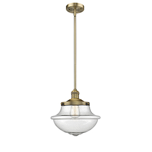 Oxford School House Brushed Brass 11-Inch LED Pendant with Seedy Bell Glass