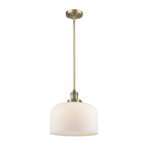 X-Large Bell Brushed Brass 60W One-Light Hang Straight Swivel Pendant with Matte White Cased Glass