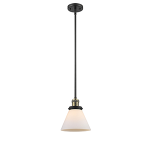 Large Cone Black Brushed Brass 10-Inch One-Light Mini Pendant with Matte White Cased Cone Glass