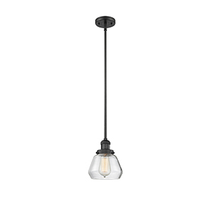 Fulton Black Seven-Inch One-Light Mini Pendant with Clear Sphere Glass