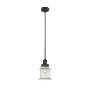 Canton Black Seven-Inch LED Mini Pendant with Seedy Bell Glass