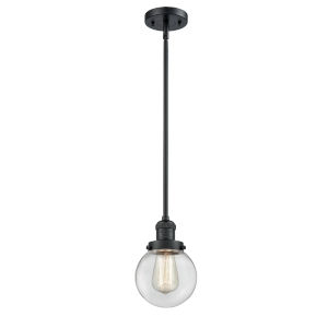 Franklin Restoration Matte Black Six-Inch LED Mini Pendant with Clear Glass Shade