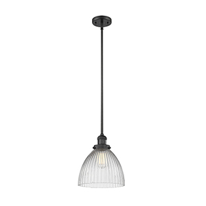 Seneca Falls Black 10-Inch One-Light Mini Pendant with Halophane Dome Glass