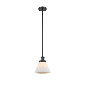 Large Cone Black Eight-Inch LED Mini Pendant with Matte White Cased Cone Glass