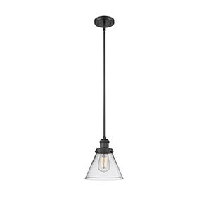 Large Cone Black Eight-Inch One-Light Mini Pendant with Clear Cone Glass