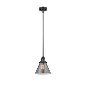 Large Cone Black Eight-Inch LED Mini Pendant with Smoked Cone Glass