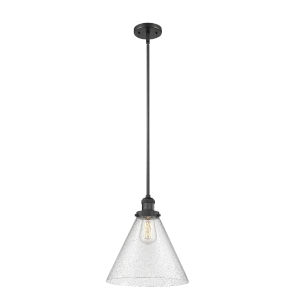 X-Large Cone Matte Black LED Hang Straight Swivel Pendant with Seedy Glass