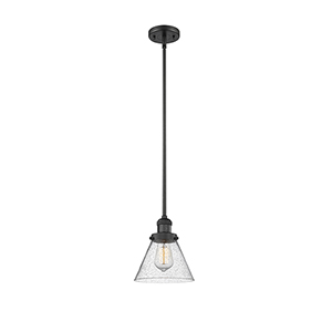 Large Cone Black Eight-Inch One-Light Mini Pendant with Seedy Cone Glass
