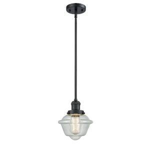 Small Oxford Matte Black LED Hang Straight Swivel Mini Pendant with Seedy Glass