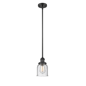 Small Bell Black Five-Inch LED Mini Pendant with Seedy Bell Glass