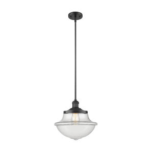 Franklin Restoration Matte Black 12-Inch LED Pendant with Clear Large Oxford Shade