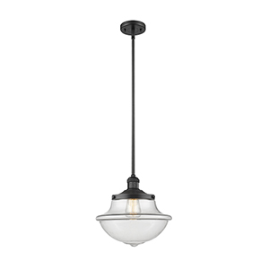 Oxford School House Black 12-Inch One-Light Pendant with Clear Bell Glass