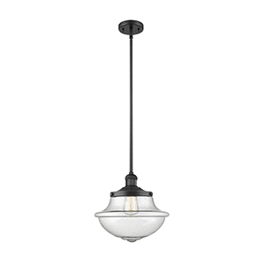 Oxford School House Black 11-Inch One-Light Pendant with Seedy Bell Glass