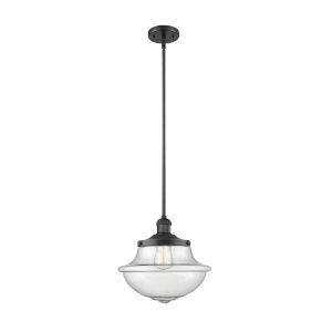 Franklin Restoration Matte Black 12-Inch LED Pendant with Seedy Large Oxford Shade