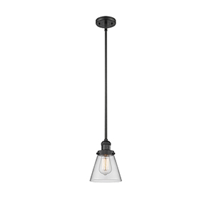 Small Cone Black Six-Inch LED Mini Pendant with Clear Cone Glass