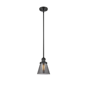 Small Cone Black Six-Inch LED Mini Pendant with Smoked Cone Glass