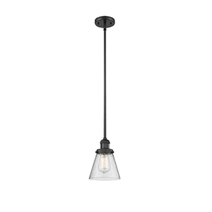 Small Cone Black Six-Inch LED Mini Pendant with Seedy Cone Glass